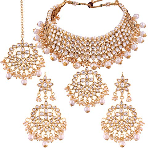 I Jewels Traditional Kundan & Pearl Choker Necklace Set for Women (K7058W)