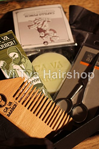 "'Ça va Barber ""Babu en or Barbe Coffret cadeau–Savon à la bûcheron/bartöl, Barbe, Barbe peigne + ciseaux à barbe"