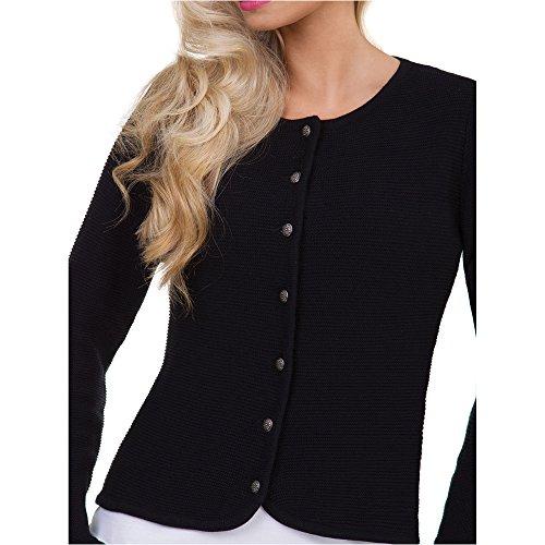 ALMBOCK Trachtenstrickjacke für Damen | gestrickte Trachtenjacke schwarz | Trachten Cardigan Damen mit versilberten Knöpfen - Trachtenjacke 34 - 2