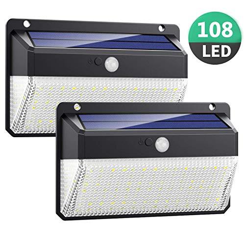 Luce Solare LED Esterno, Kilponen 108 LED Super Luminosa Lampada Solare con Sensore di Movimento...
