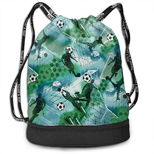 Zaini e borse,Zaini casual,Borse da palestra, Gym Drawstring Sports Bag Simple Quick Dry Bundle Backpack Sports Soccer Boy Soccer Blue & Green