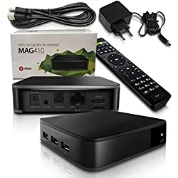 MAG 410Android - Decodificador multimedia IPTV H.265, con Internet, TV 4K Ultra HD, 3D (idioma español no garantizado)