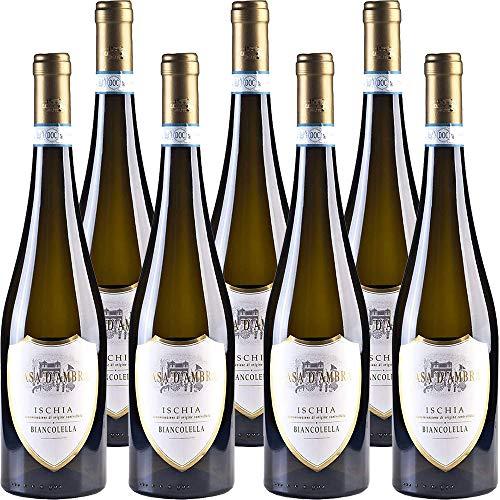 Ischia Biancolella DOC | Casa d'Ambra | Vino Bianco dell'isola d'Ischia | Confezione da 6 bottiglie da 75 cl | Idea Regalo