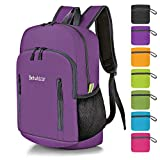 Bekahizar 20L Ultra Lightweight Backpack Foldable Hiking Daypack Rucksack Water Resistant Travel Day Bag for Men Women Kids Outdoor Camping MountaineeringWalking Cycling Climbing (Purple)