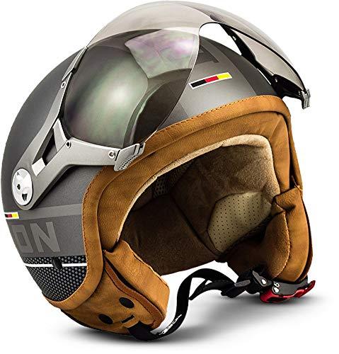 SOXON SP-325-PLUS Titanium · Vintage Chopper Biker Bobber Pilot Scooter-Helm Vespa-Helm Retro Cruiser Helmet Motorrad-Helm Roller-Helm Jet-Helm Mofa · ECE zertifiziert · inkl. Sonnenvisier · inkl. Stofftragetasche · Grau · XL (61-62cm)