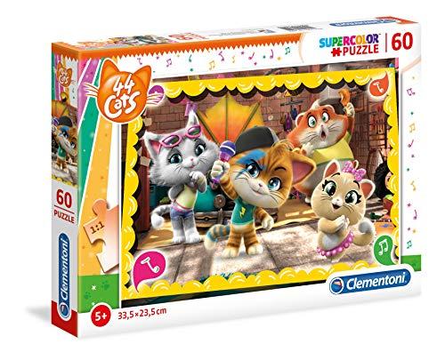 Clementoni Supercolor Puzzle-44 Gatti-60 Pezzi, Multicolore, 26052