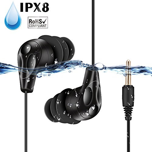 AGPTEK E11-Auriculares Sumergibles Acuaticos Impermeables IPX8 para Natacion Piscina Baño Playa y Mp3 Acuaticos, Color Negro