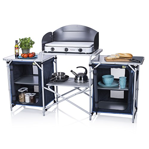 Cocina de camping Málaga Campart Travel KI-0732 – Con paravientos – Dos compartimentos de almacenamiento