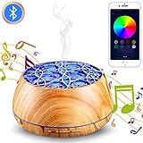 YOUNGDO Diffusore di Aromi, 30 Colori LED con Altoparlanti Bluetooth,Smart Diffusore di Oli Essenziali ad 400 ml con Telecomando App per...