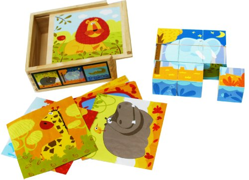 Toys of Wood Oxford Puzzle di cubi di Legno - Puzzle di 9 Pezzi di Animali in Scatola di Legno -...