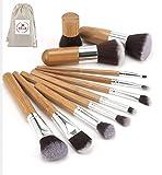xFresca, set di 11 pennelli in legno per il trucco Start Makers in stile kabuki,estremamente morbidi