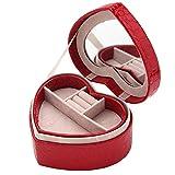 Kangming viaggio portagioie custodia a forma di cuore display organizer con specchio Red