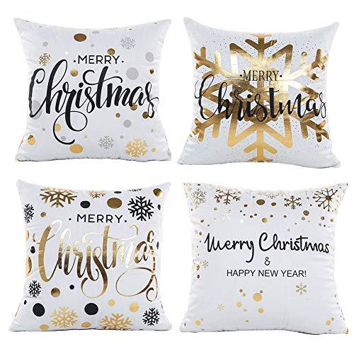Gspirit Natale Fiocco di Neve 4 Pack Cuscini per divani Decorativo Cotone Biancheria Cuscino...