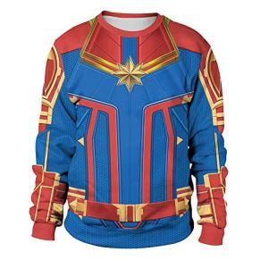 Vengadores Capitán Marvel Sudadera Impresión 3D Cosplay Adulto Hombres Mujeres Cuello Redondo Suéter Deportivo Suéteres,Blue-XL