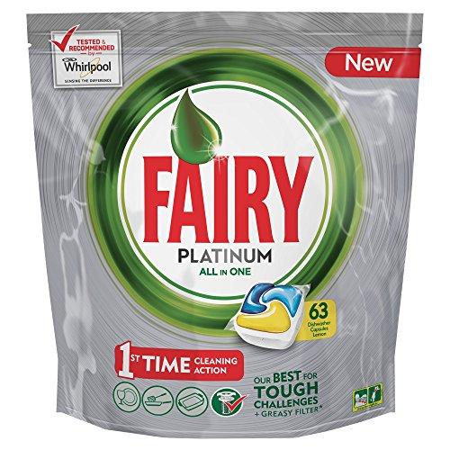 Fairy Platinum Caps per Lavastoviglie, Limone - Confezione da 63 Pezzi