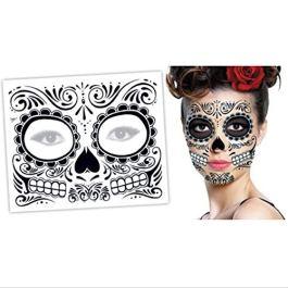 2 PZ Giorno dei morti Dia de los Muertos Maschera Zucchero Teschio Tattoo Beauty Halloween vestire-D