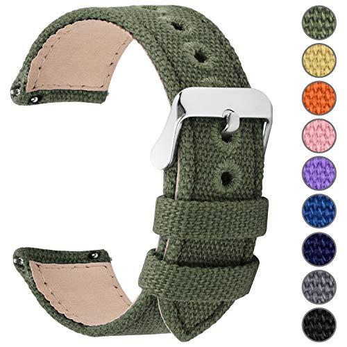 Fullmosa 8 Colori per Cinturino Orologio a Sgancio Rapido, Tela Militare Cinturino per Orologio 24mm,22mm,20mm,18mm,16mm,14mm,Cinturino per Uomo e Donna, 20mm Verde