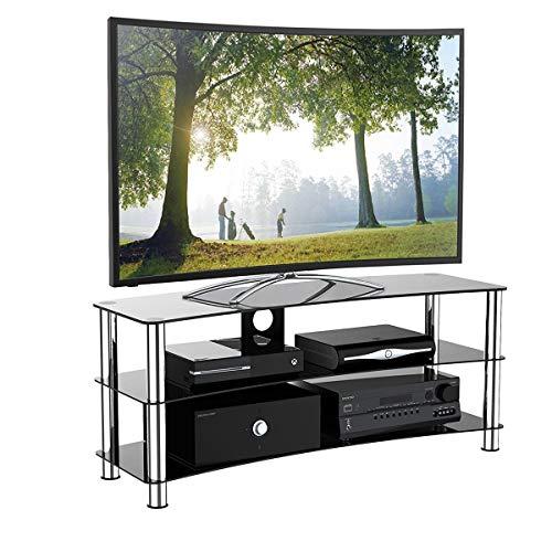 1home - Supporto per TV in vetro per LCD LED Plasma 3D, colore: nero, Black, 120 cm curved