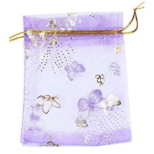 Mariposa Hermosa Organza Bolso - SODIAL(R)Bolsita Bolsa de Organza Escarpado de Mariposa Hermosa de Regalo del Banquete de Boda (Purpura, Conjunto de 100)