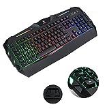 Aursen® Wired Beleuchtete Gaming Keyboard (Tastatur Kabelgebunden, Ergonomisches Design, QWERTZ-Layout Deutsch, USB, Schwarz)