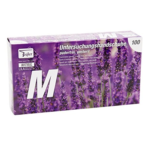 teqler T di 324522Guanti in nitrile, senza polvere, Viola, Medio (Confezione da 100pezzi)
