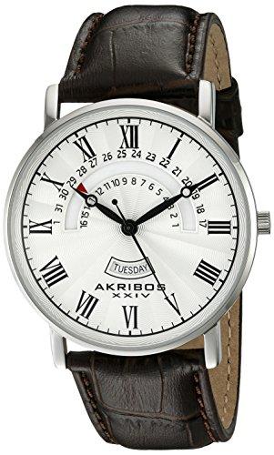 Akribos XXIV Herren Analog Quarz Uhr mit Leder Armband AK898SSBU