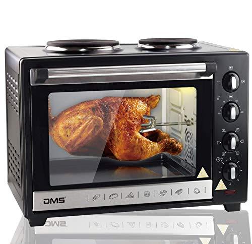 DMS 48L Mini-Backofen mit Kochplatten Drehspieß Umluft Pizzaofen Ofen, Backofen mit Innenbeleuchtung, Timer 3600 Watt herausnehmbares Krümelblech OCRH-48D