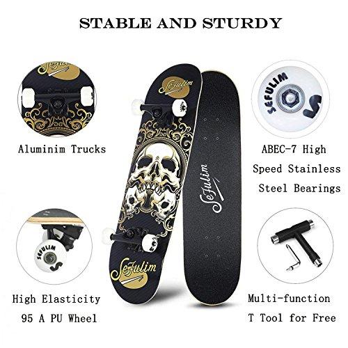 Sefulim Professionale Skateboard Bambino e Adulto – Complete Design Moderno in Legno d'A