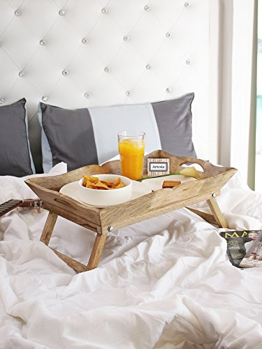 Artesia Mango Wood Foldable Breakfast Table, Bed Table, Serving Tray, Brown