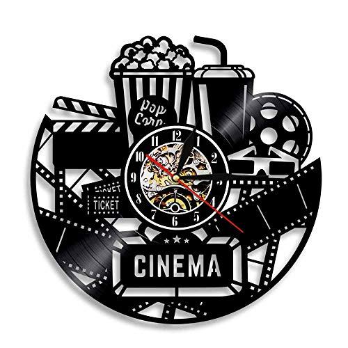 CNCN 1Piece Cinema Movie Ticket Vinyl Record Orologio da Parete Popcorn Design Retroilluminazione a...