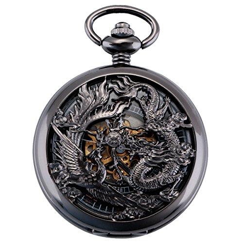 ManChDa Herren Antik Taschenuhr mit Kette analog Handaufzug Drache Phönix Skelett Doppeljäger Römische Schwarz/Bronze