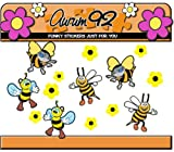 Bumble Bee Stickers - Funny x6