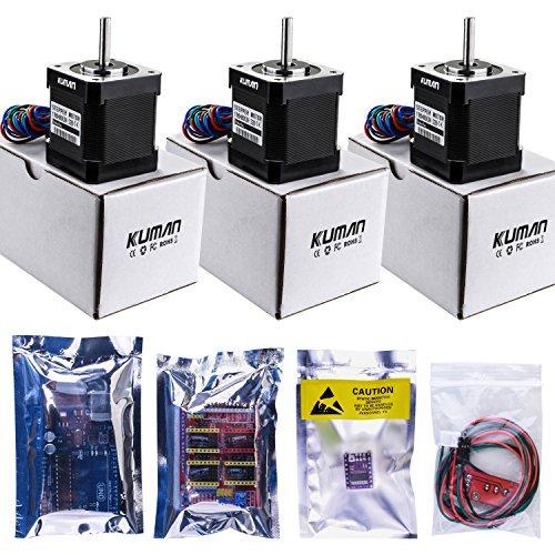 51hLt7AuJWL - Kuman Profesional Impresora 3D CNC Kit para Arduino, GRBL CNC Shield con UNO-R3 Board + RAMPS 1.4 Interruptor Mecánico Tope + DRV8825 GRBL Motor Paso a Paso Controlador de Calor + Nema 17 KB02