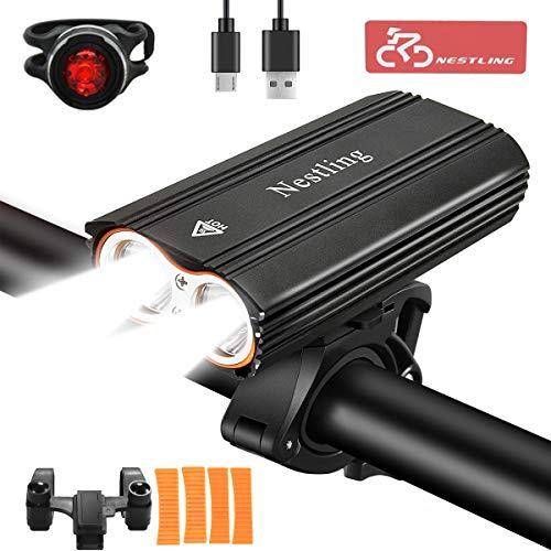 Luci per Bicicletta,Luci Bicicletta LED Ricaricabili USB con 2400 lumens 4 modalità,Luce Bici Anteriore e Posteriore Super Luminoso Luce Bici LED per Ciclismo e Campeggio- Sicurezza per Notte