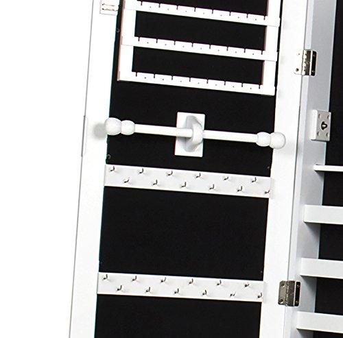 Intirilife – Eleganter Hänge-Schmuck-Schrank mit LED Beleuchtung, abschließbarer Spiegeltür mit 2 Schubladen und Haken für Ketten, Ohrringe, Schmuck in Weiss - 3
