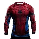Samanthajane Clothing - T-shirt - Uomo, Spiderman Black Long sleeve, Medium