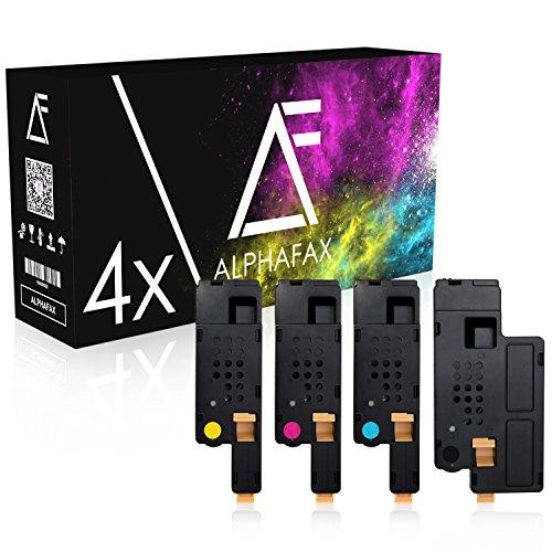 4 Alphafax Toner kompatibel für Dell E525w LED-Farblaser-Multifunktionsdrucker - Schwarz 2.000 Seiten, Color je 1.400 Seiten