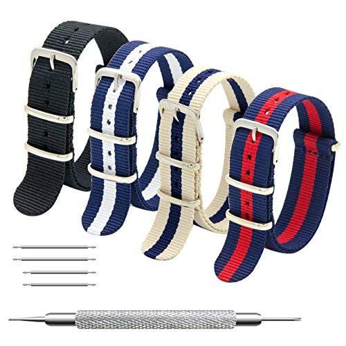 MEGALITH Cinturino Orologio 4 Pacchetti 18mm 20mm 22mm Balistico Cinturino Nato Cinturino in Nylon con Bar Primavera Link Pin Remover Strumento (20mm, Black+Linen Navy+Navy White+Navy Red)