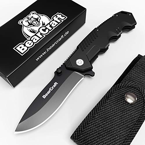 BearCraft Klappmesser in Mattschwarz mit **GRATIS eBook**   Scharfes Outdoor Survival Taschenmesser   Kleines Einhand-Messer mit Edelstahlklinge und Aluminiumgehäuse   Einsetzbar für Wandern Camping