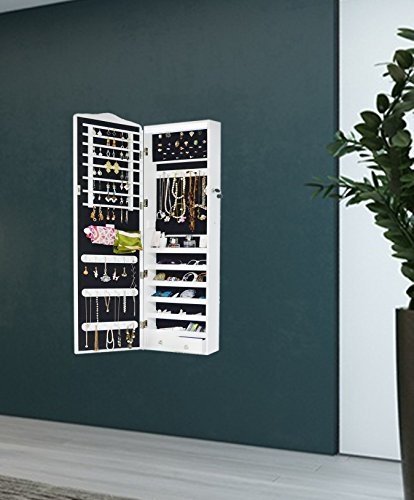 Intirilife – Eleganter Hänge-Schmuck-Schrank mit LED Beleuchtung, abschließbarer Spiegeltür mit 2 Schubladen und Haken für Ketten, Ohrringe, Schmuck in Weiss - 6