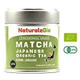Organic Matcha Green Tea Powder [Ceremonial Grade] | Organic Japanese Tea Produced in Uji, Kyoto | Ideal for Drinking, Cooking and with Milk | 30 gr Tin | NATURALEBIO