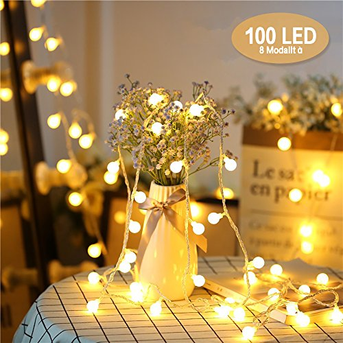 Catena Luminosa, Chenci Luci Stringa 10m e Cavo Prolunga 3m Lampadina Illuminazione 100 LED Bulbo...
