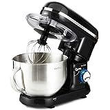 VonShef 800-1260W Küchenmaschine Rührmaschine Knetmaschine - Geräuscharm und 3,5L Rührschüssel mit Spritzschutz - Inklusive Quirl, Knethaken & Schneebesen (Schwarz)
