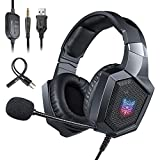ONIKUMA Gaming Headset XBox One S PS4 Nintendo Switch Stereo PS4 Headset with RGB LED Light Noise Reduction/Volume Control/Over-Ear xbox one Headset with Mic for Laptop PC Mac Computer Smartphone