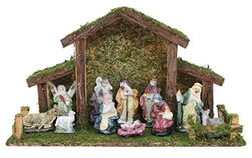 Toyland Presepe Tradizionale di Natale - Stalla con 12 Figure di Natività - Decorazioni Natalizie