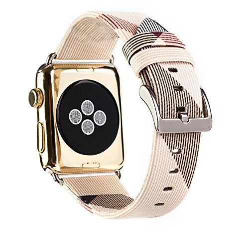 Aottom Compatibile per Cinturino Apple Watch 38mm Cinturini iWatch 40mm Cinturino di Ricambio in Pelle per Donna Uomo Cinturino da Polso in Metallo Fibbia Cinturino per iWatch Serie 4/3/2/1, Bianca