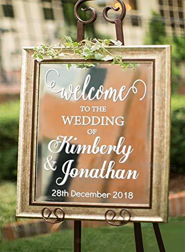 Benvenuto al segno di decalcomania di nozze per lavagna a specchio rimovibile Matrimonio Decora nome...