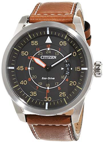Citizen Herren Analog Quarz Uhr mit Leder Armband AW1360-12H