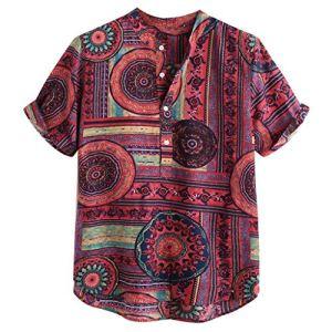 UINGKID-Herren-T-Shirt-Kurzarm-Slim-fit-Baumwolle-Leinen-gedruckt-Casual-Henley-Shirts-Krawatte-Sommer-Tops