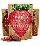 Getrocknete Früchte als 3er Set Fruchtpapier (3x 40g) – Frucht Snack aus Ananas, Apfel, Mango, Erdbeere luftgetrocknet – Trockenobst Dörrobst Superfood für Büro, Snack, Frühstück
